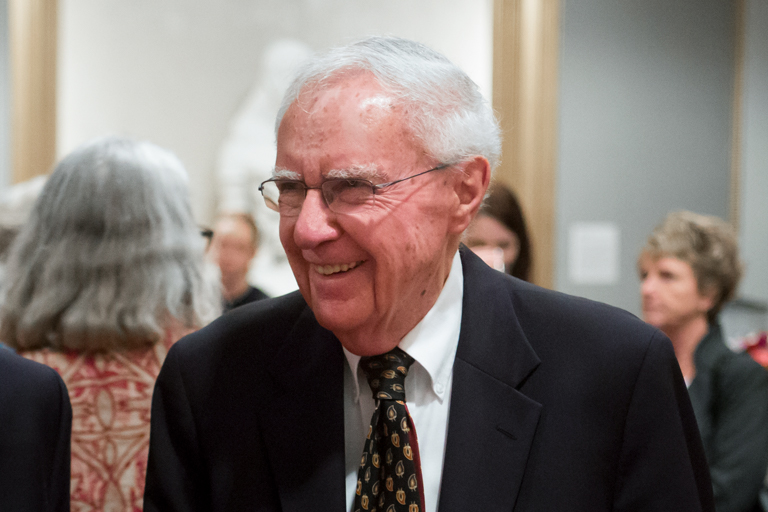 Ken Gros Louis, mid-chuckle at a university event